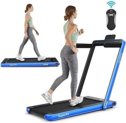 Goplus 2 in 1 Folding Treadmill with Dual Display